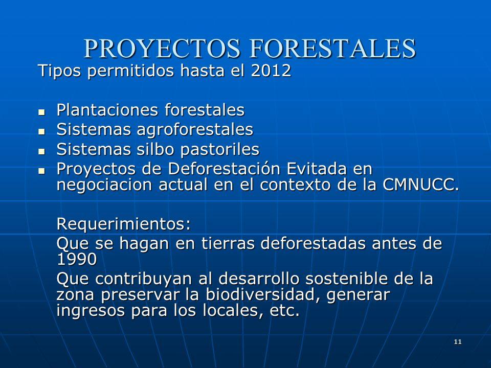 PROYECTOS FORESTALES Tipos permitidos hasta el 2012