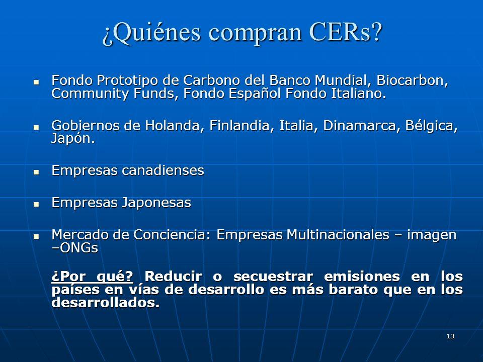 ¿Quiénes compran CERs Fondo Prototipo de Carbono del Banco Mundial, Biocarbon, Community Funds, Fondo Español Fondo Italiano.