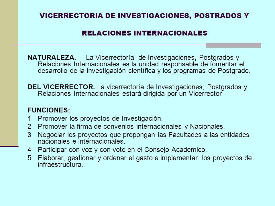 VICERRECTORIA DE INVESTIGACIONES, POSTRADOS Y RELACIONES INTERNACIONALES