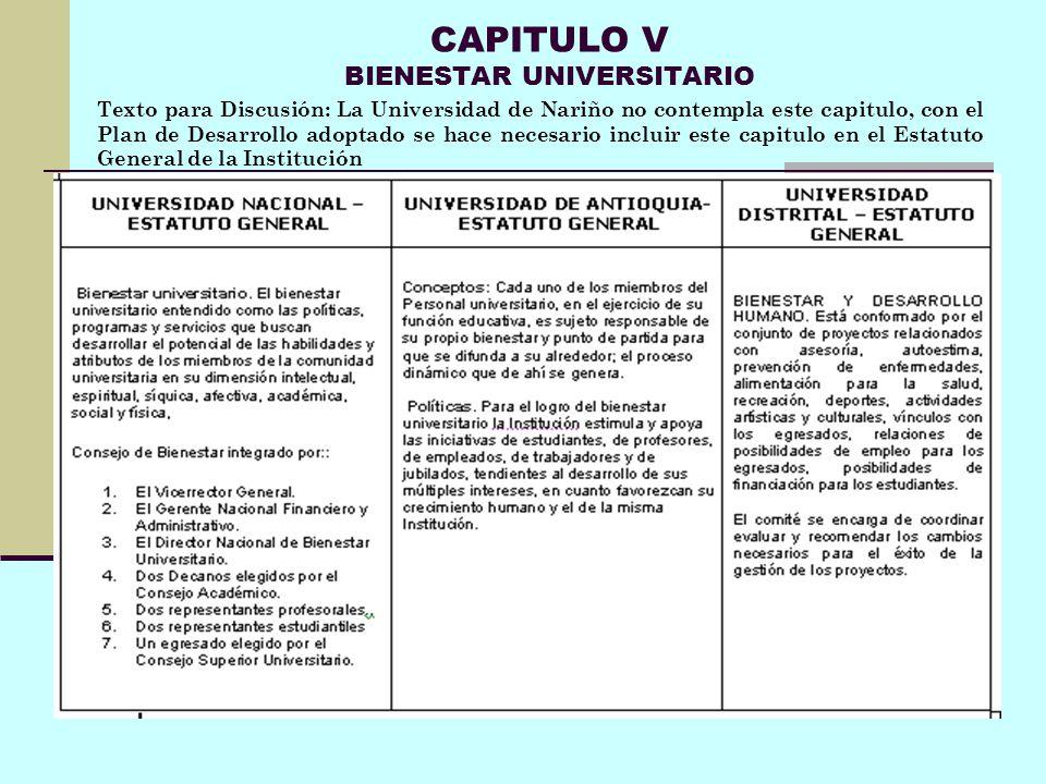 CAPITULO V BIENESTAR UNIVERSITARIO