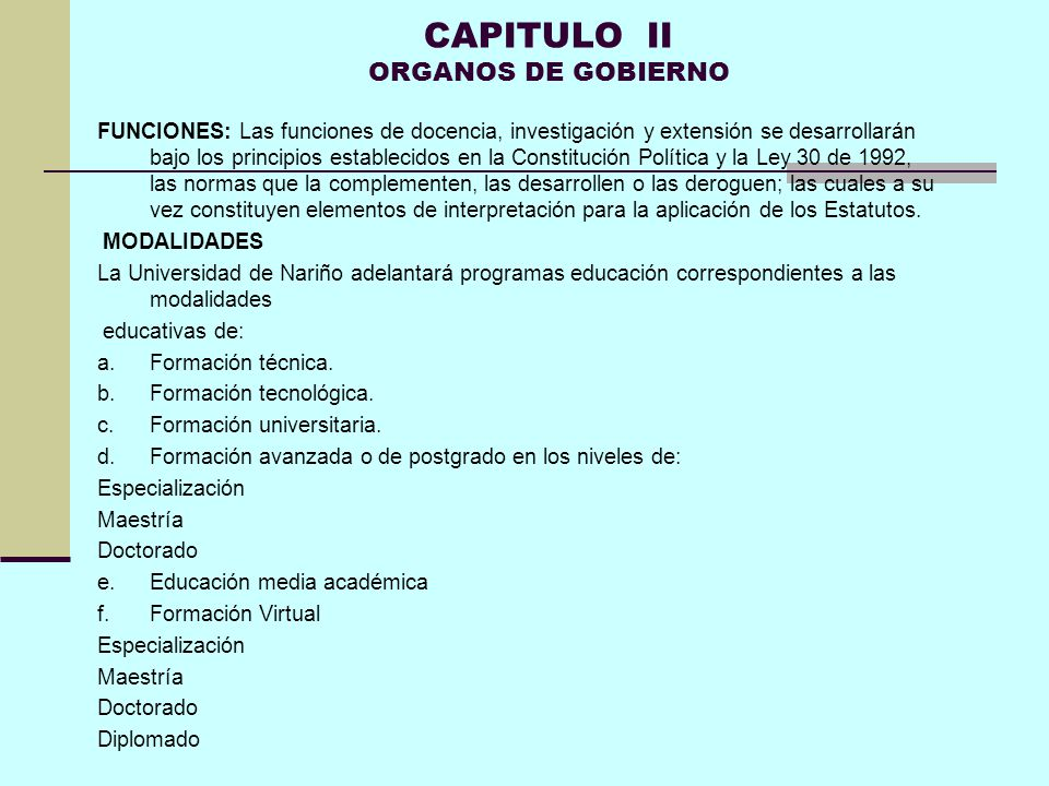 CAPITULO II ORGANOS DE GOBIERNO