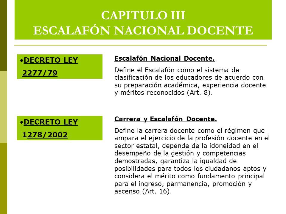 CAPITULO III ESCALAFÓN NACIONAL DOCENTE