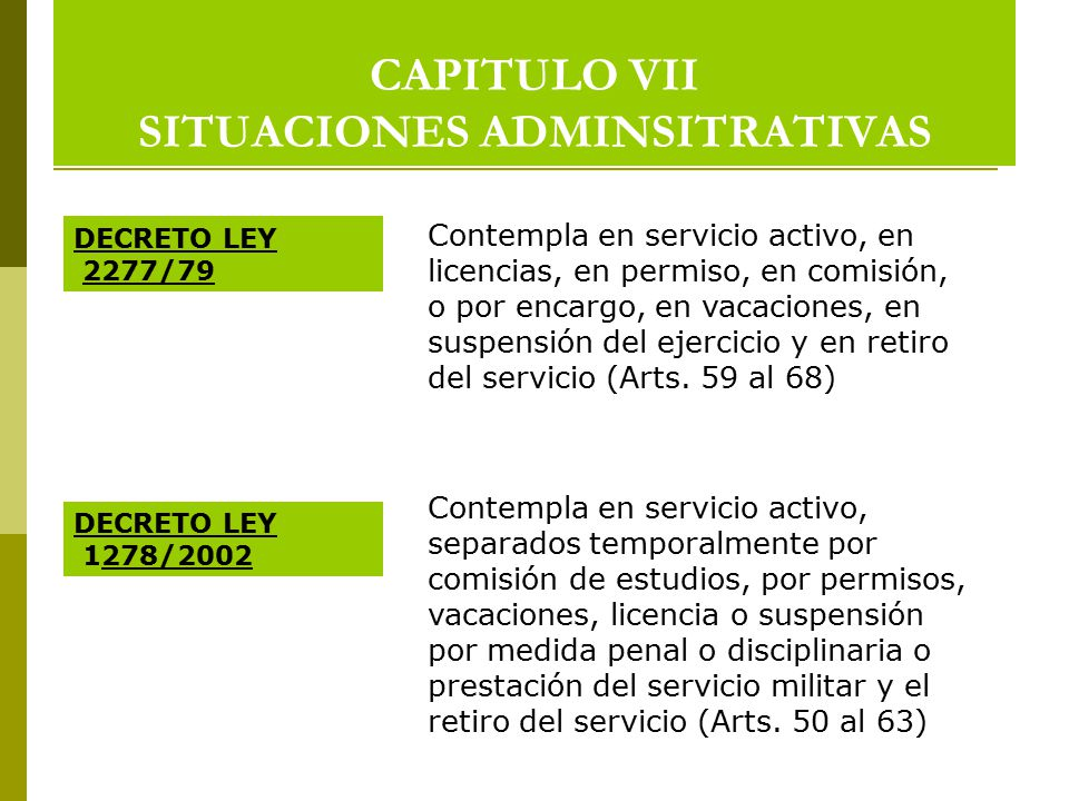 CAPITULO VII SITUACIONES ADMINSITRATIVAS