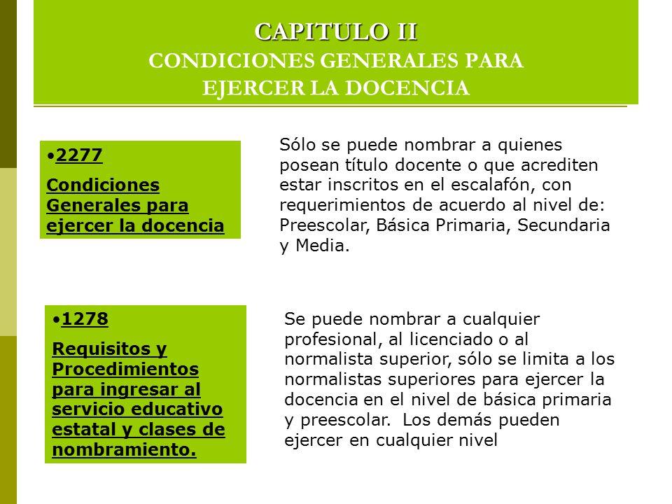 CAPITULO II CONDICIONES GENERALES PARA EJERCER LA DOCENCIA