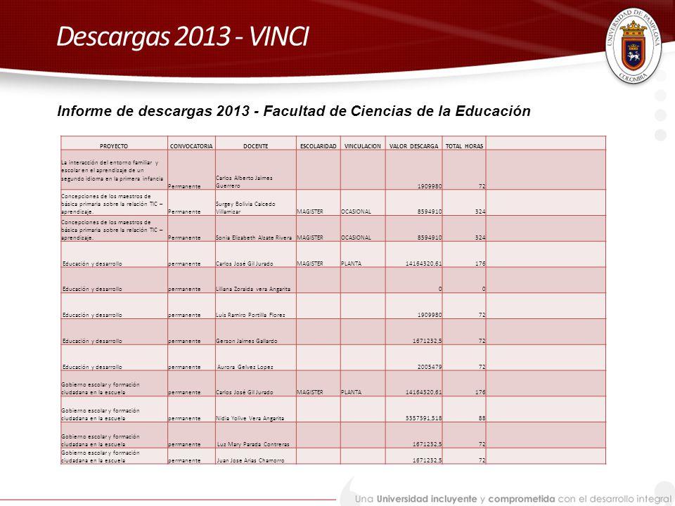 Descargas 2013 - VINCI Informe de descargas 2013 - Facultad de Ciencias de la Educación. PROYECTO.