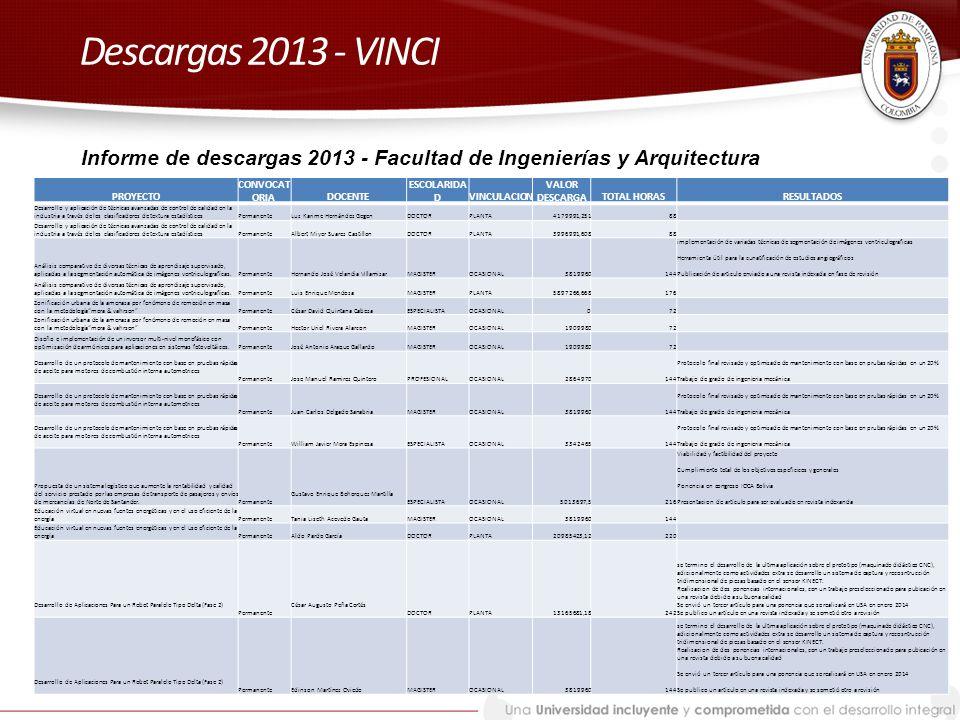 Descargas 2013 - VINCI Informe de descargas 2013 - Facultad de Ingenierías y Arquitectura. PROYECTO.