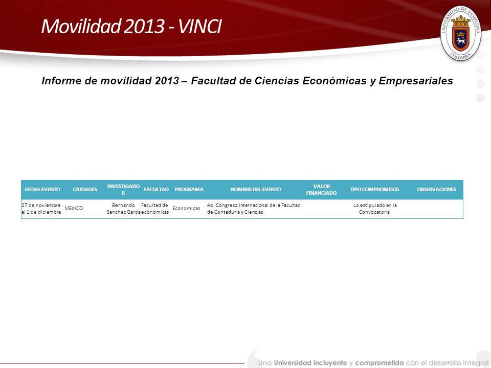 Movilidad 2013 - VINCI Informe de movilidad 2013 – Facultad de Ciencias Económicas y Empresariales.