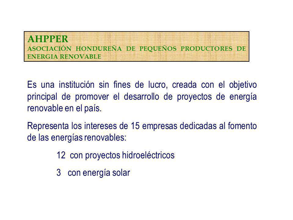 12 con proyectos hidroeléctricos 3 con energía solar