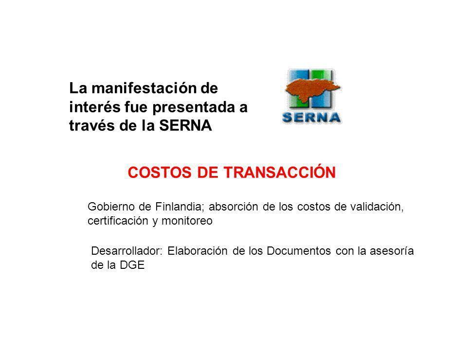 La manifestación de interés fue presentada a través de la SERNA