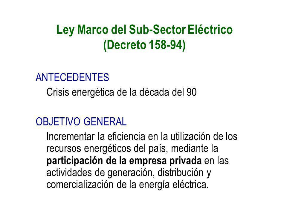 Ley Marco del Sub-Sector Eléctrico (Decreto 158-94)