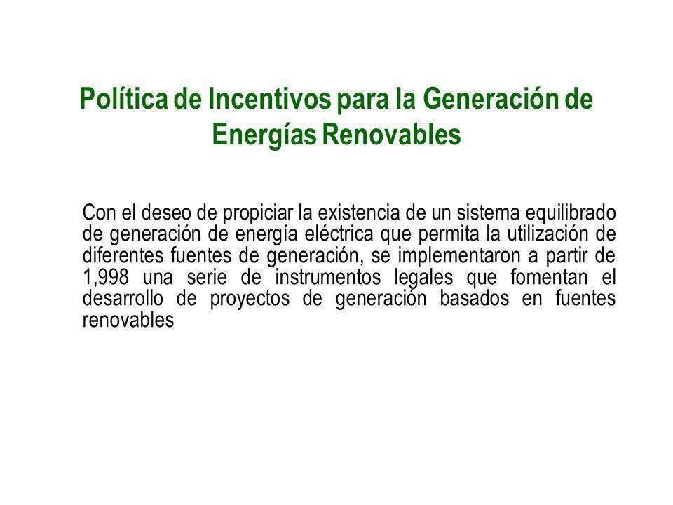 Política de Incentivos para la Generación de Energías Renovables