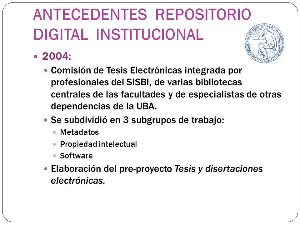 ANTECEDENTES REPOSITORIO DIGITAL INSTITUCIONAL