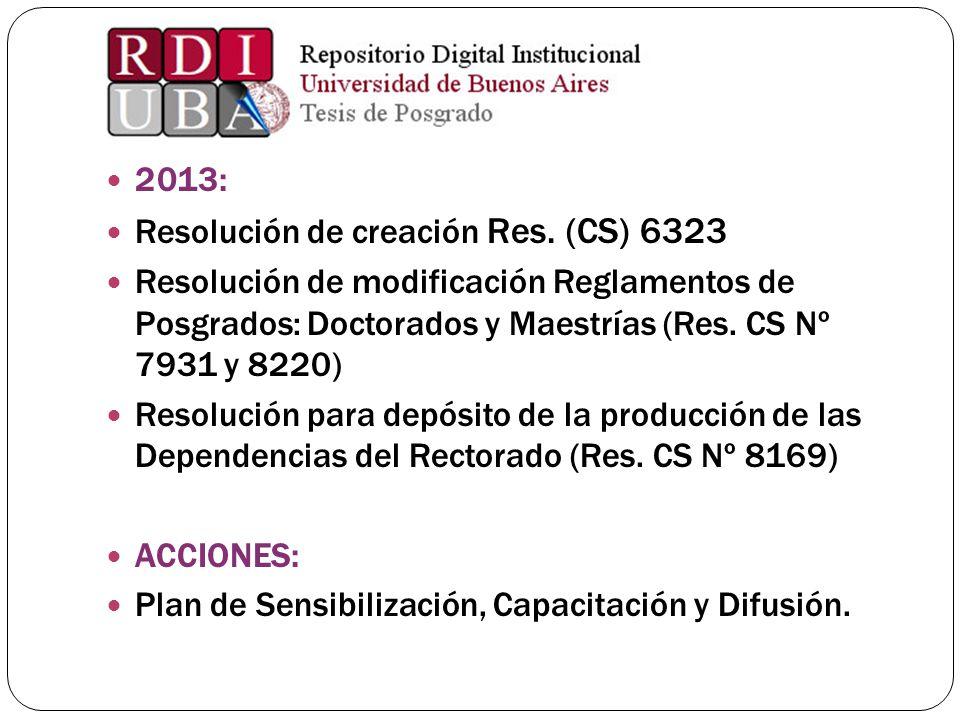 2013: Resolución de creación Res. (CS) 6323. Resolución de modificación Reglamentos de Posgrados: Doctorados y Maestrías (Res. CS Nº 7931 y 8220)