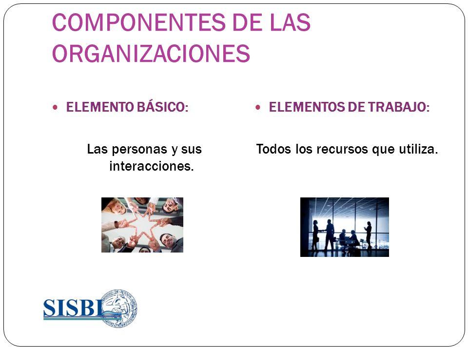 COMPONENTES DE LAS ORGANIZACIONES