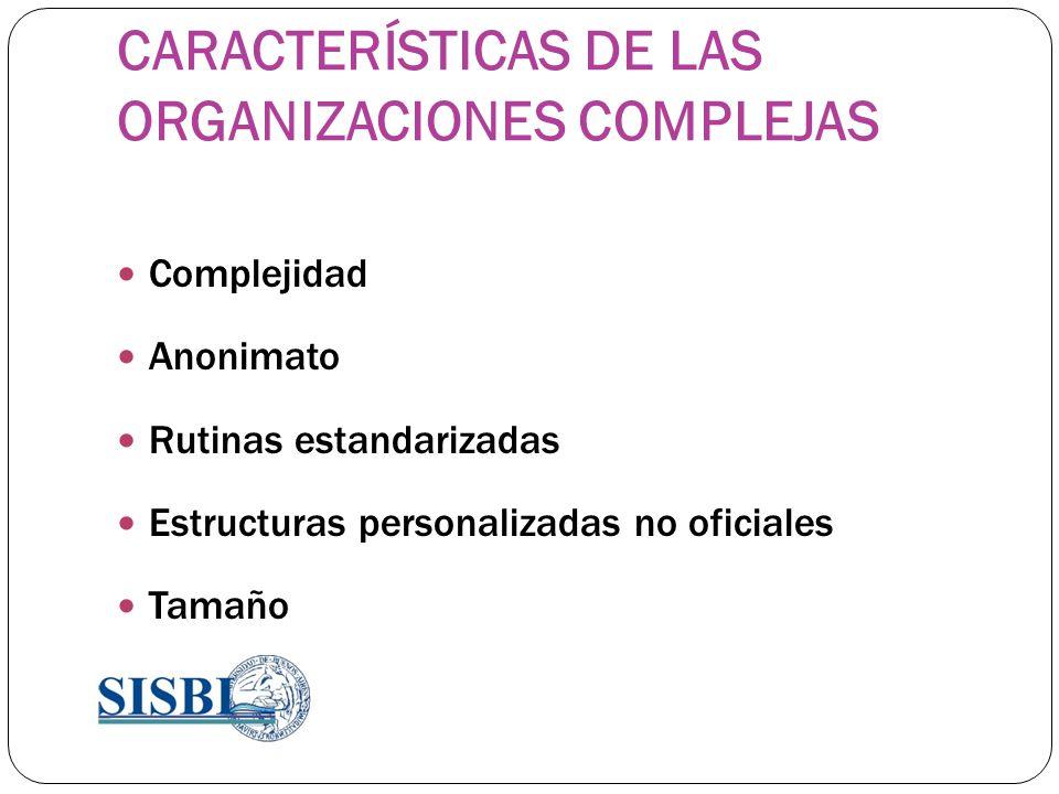 CARACTERÍSTICAS DE LAS ORGANIZACIONES COMPLEJAS