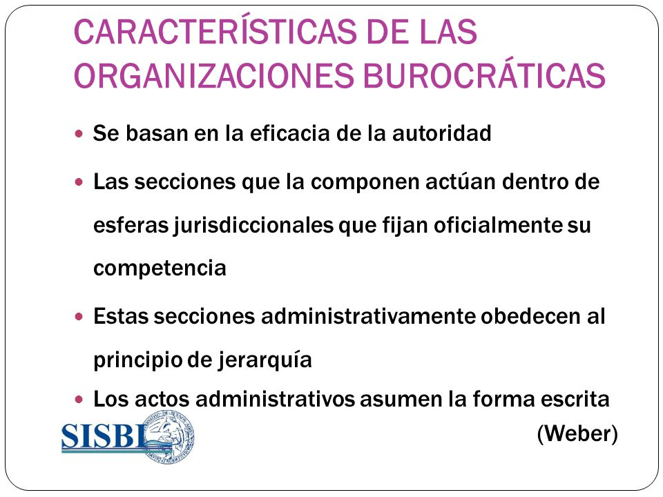 CARACTERÍSTICAS DE LAS ORGANIZACIONES BUROCRÁTICAS