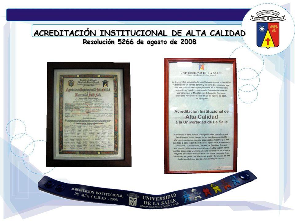 ACREDITACIÓN INSTITUCIONAL DE ALTA CALIDAD Resolución 5266 de agosto de 2008