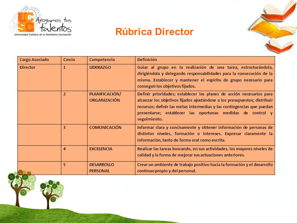 Rúbrica Director Cargo Asociado Cmcia Competencia Definición Director