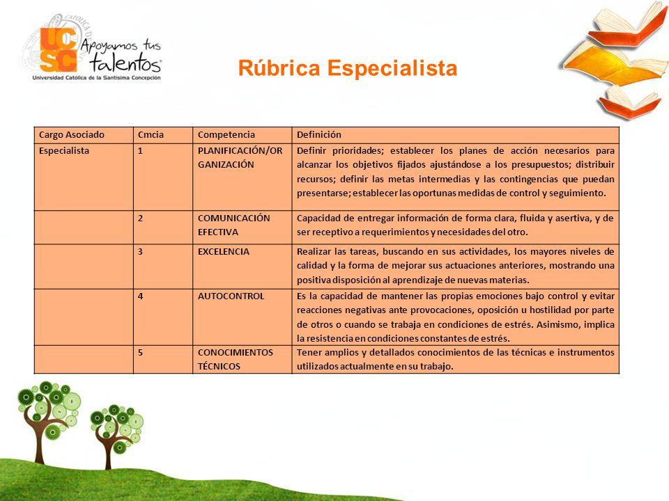 Rúbrica Especialista Cargo Asociado Cmcia Competencia Definición