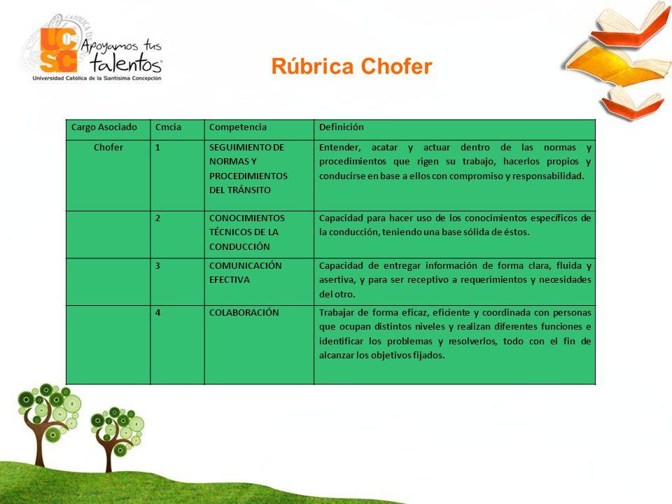 Rúbrica Chofer Cargo Asociado Cmcia Competencia Definición Chofer 1