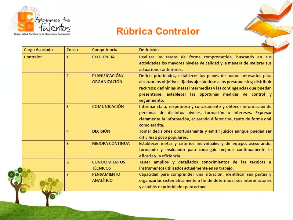 Rúbrica Contralor Cargo Asociado Cmcia Competencia Definición