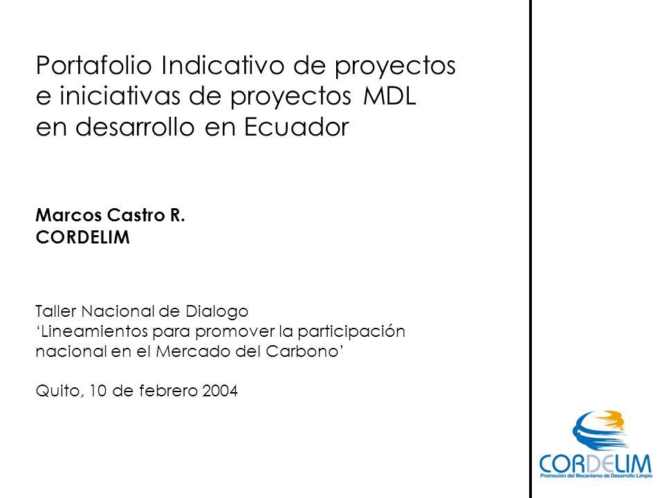 Portafolio Indicativo de proyectos e iniciativas de proyectos MDL