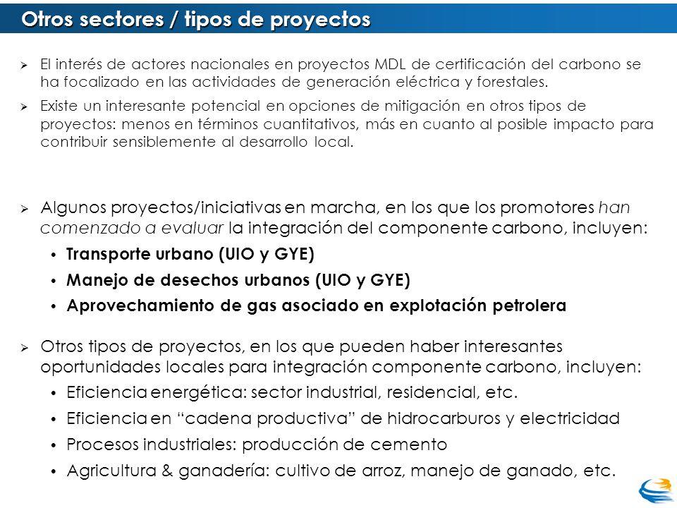 Otros sectores / tipos de proyectos