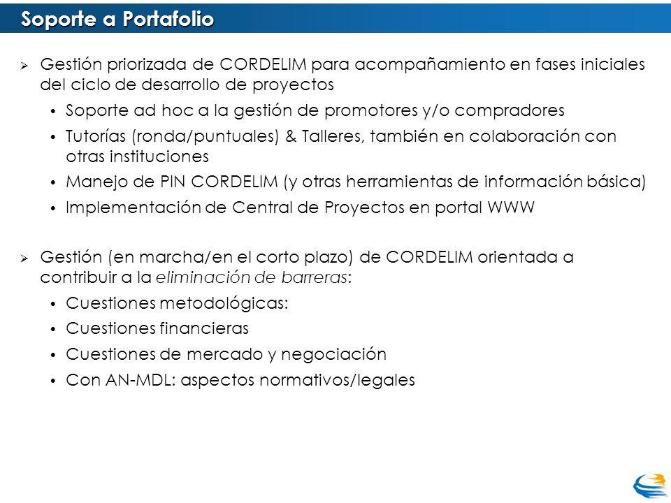 Soporte a Portafolio Gestión priorizada de CORDELIM para acompañamiento en fases iniciales del ciclo de desarrollo de proyectos.