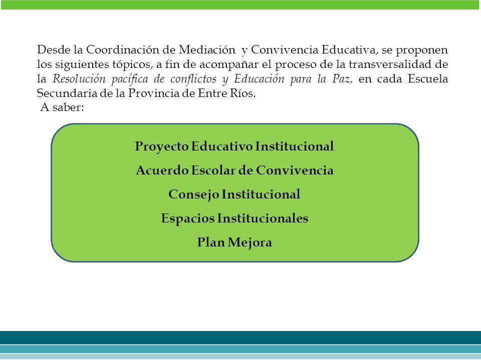 Proyecto Educativo Institucional Acuerdo Escolar de Convivencia
