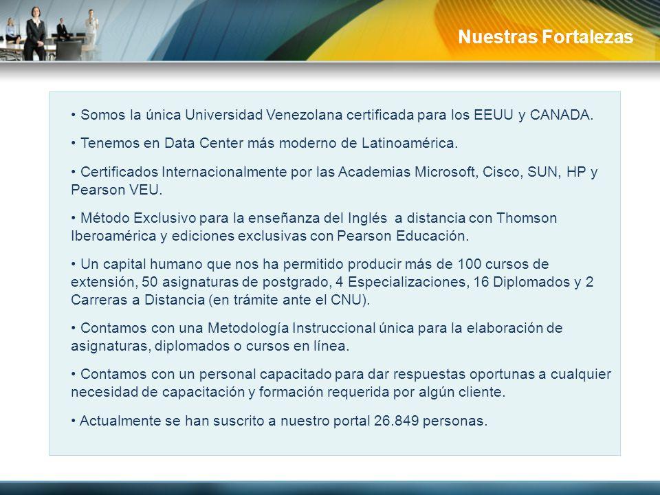 Nuestras Fortalezas Somos la única Universidad Venezolana certificada para los EEUU y CANADA. Tenemos en Data Center más moderno de Latinoamérica.