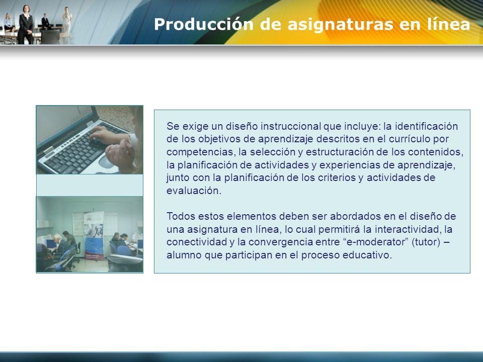 Producción de asignaturas en línea
