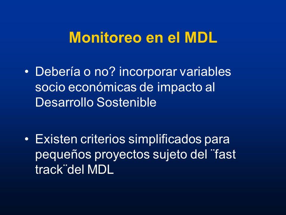 Monitoreo en el MDL Debería o no incorporar variables socio económicas de impacto al Desarrollo Sostenible.