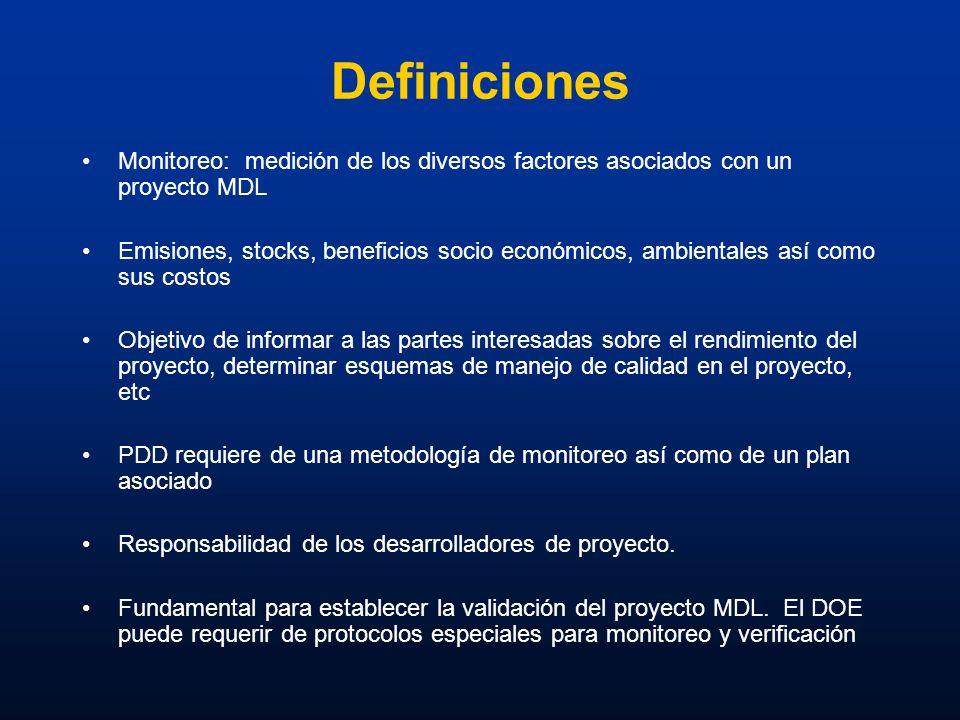 Definiciones Monitoreo: medición de los diversos factores asociados con un proyecto MDL.