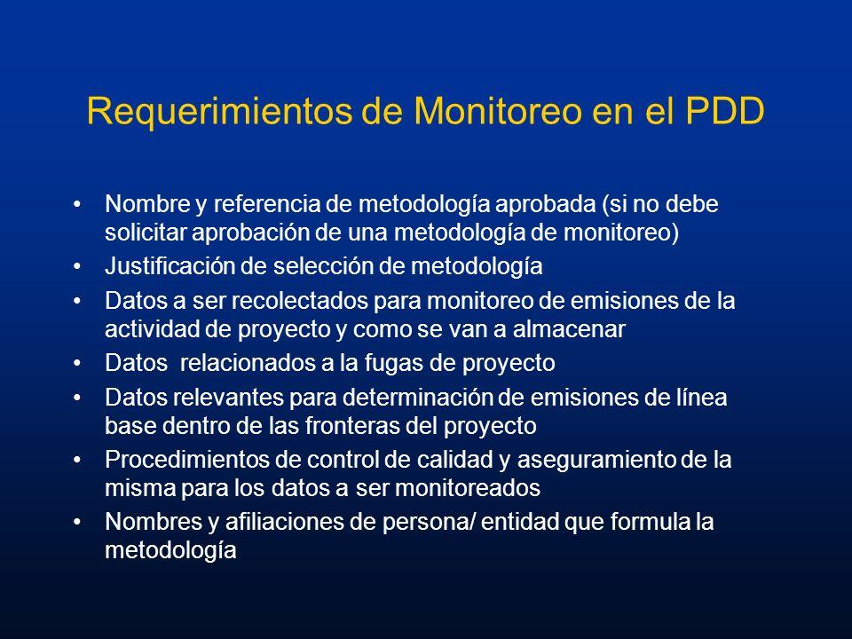 Requerimientos de Monitoreo en el PDD