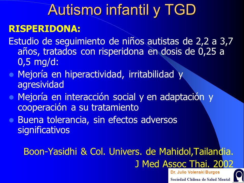 Autismo infantil y TGD RISPERIDONA: