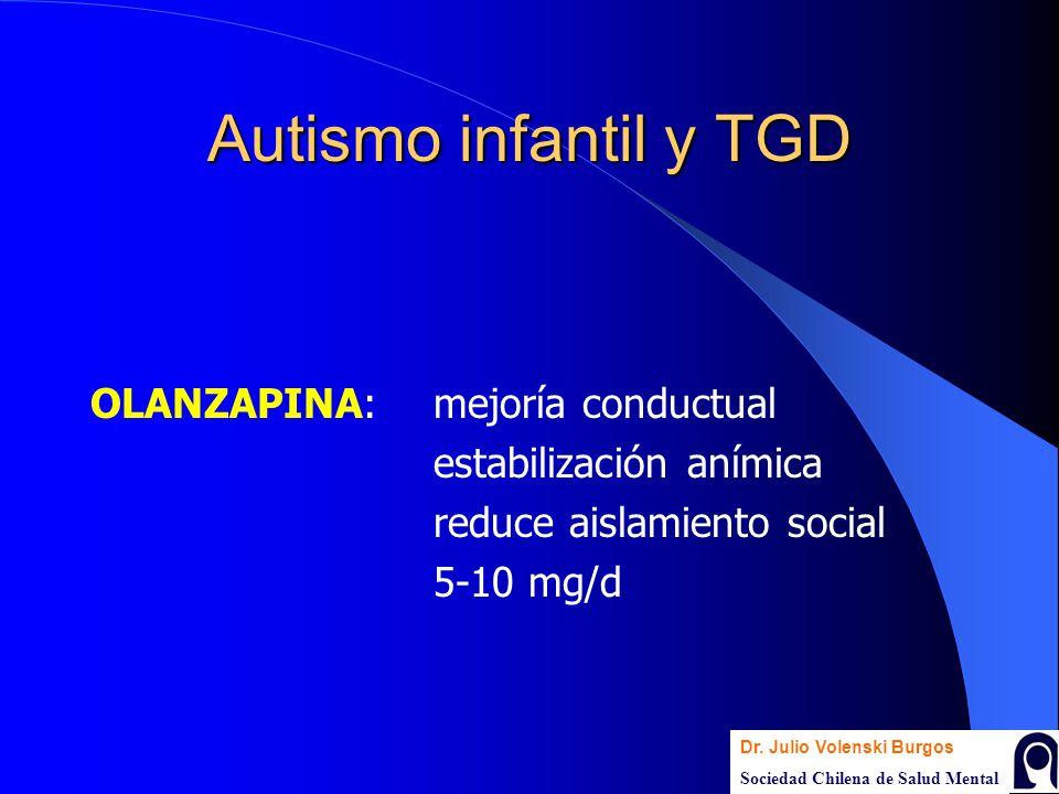 Autismo infantil y TGD OLANZAPINA: mejoría conductual