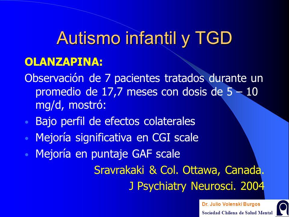 Autismo infantil y TGD OLANZAPINA: