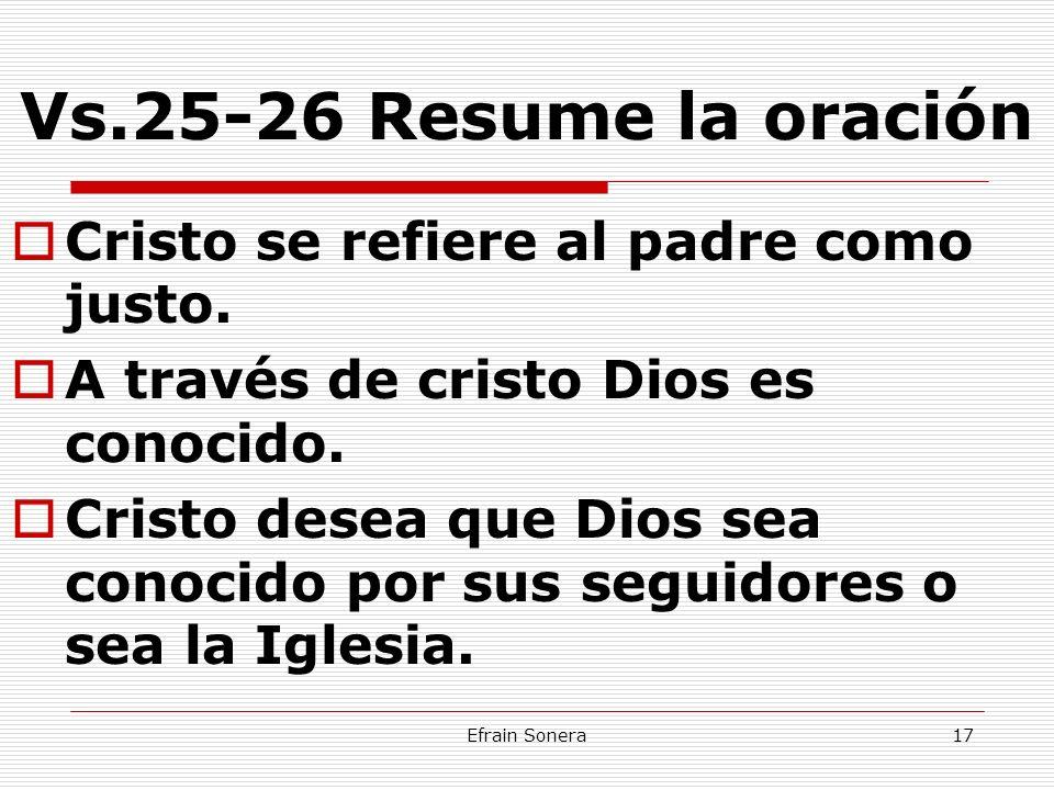 Vs.25-26 Resume la oración Cristo se refiere al padre como justo.