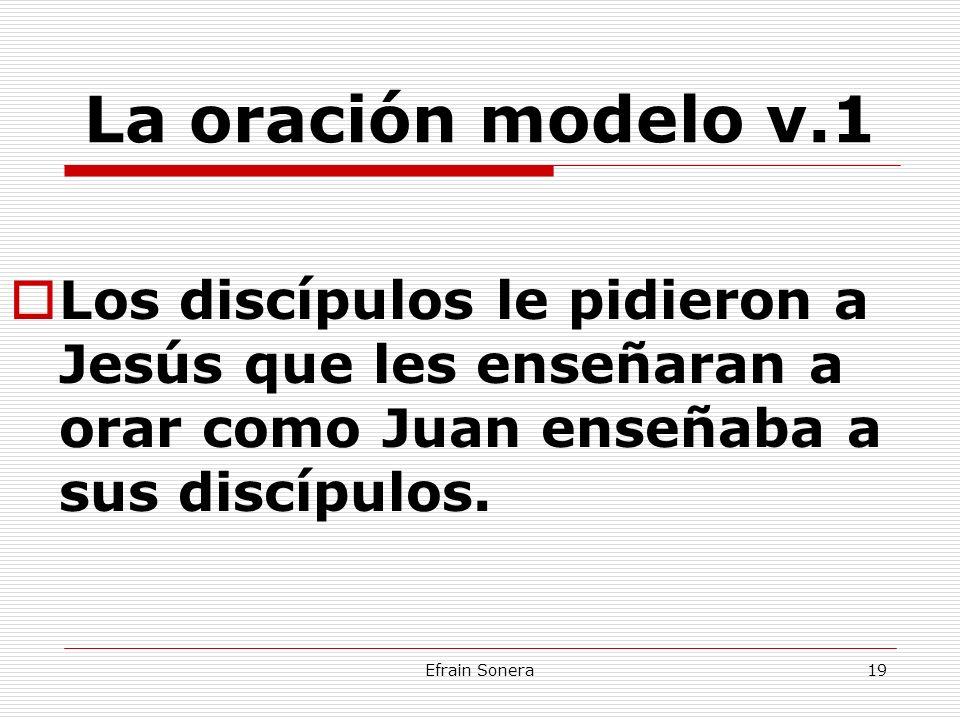 La oración modelo v.1 Los discípulos le pidieron a Jesús que les enseñaran a orar como Juan enseñaba a sus discípulos.