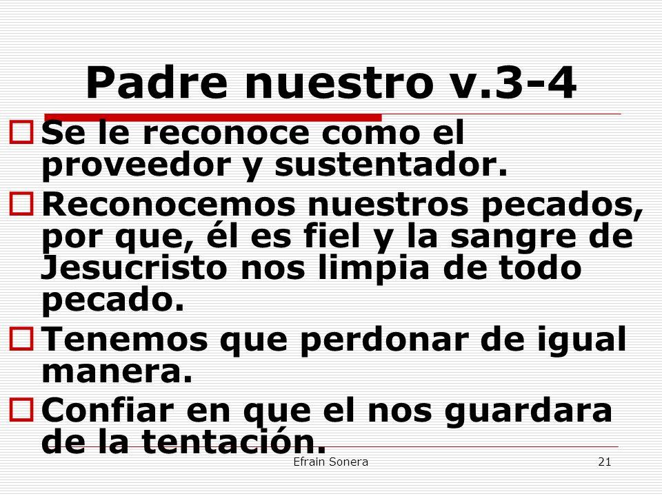 Padre nuestro v.3-4 Se le reconoce como el proveedor y sustentador.