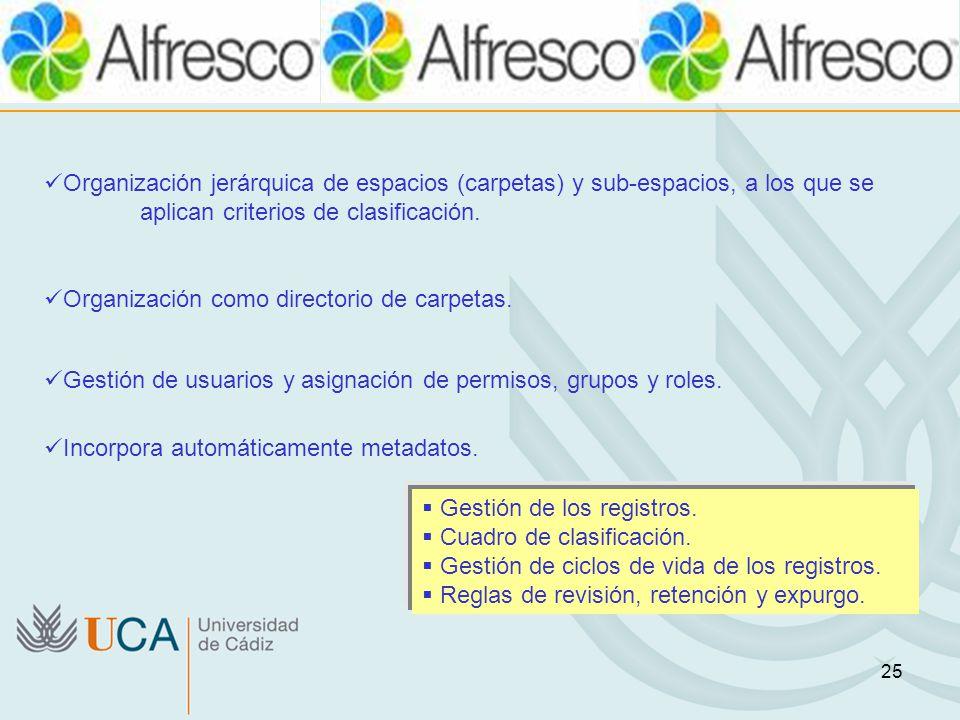 Organización jerárquica de espacios (carpetas) y sub-espacios, a los que se aplican criterios de clasificación.