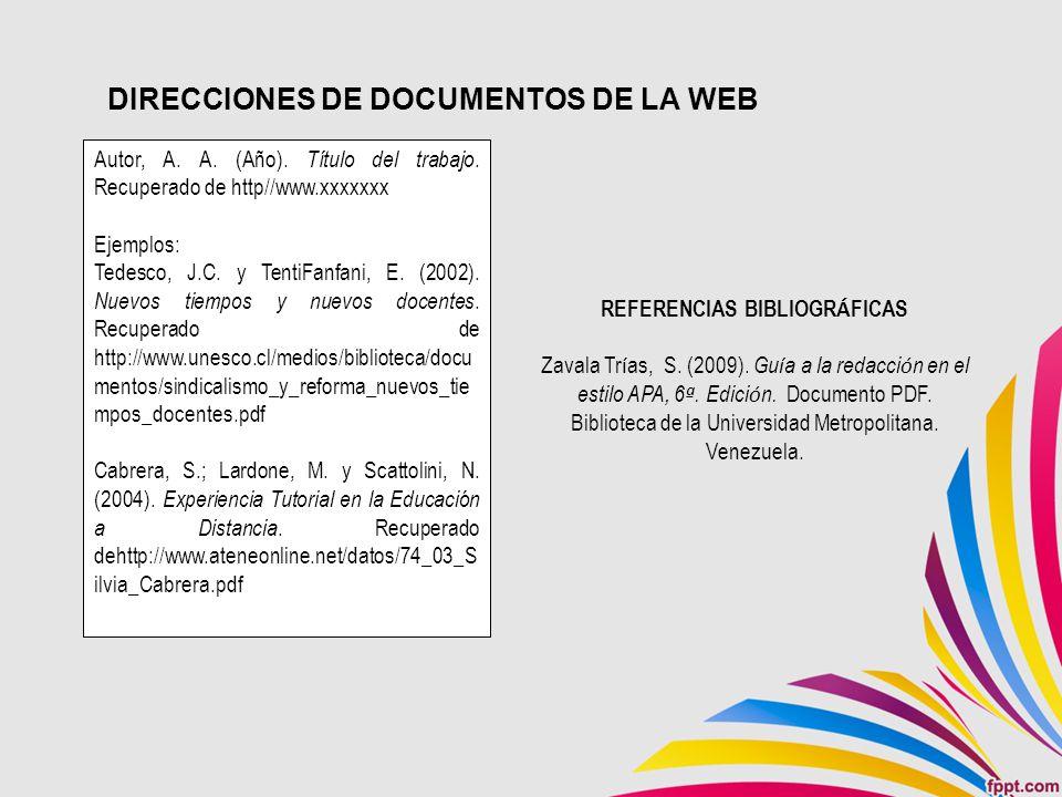 DIRECCIONES DE DOCUMENTOS DE LA WEB