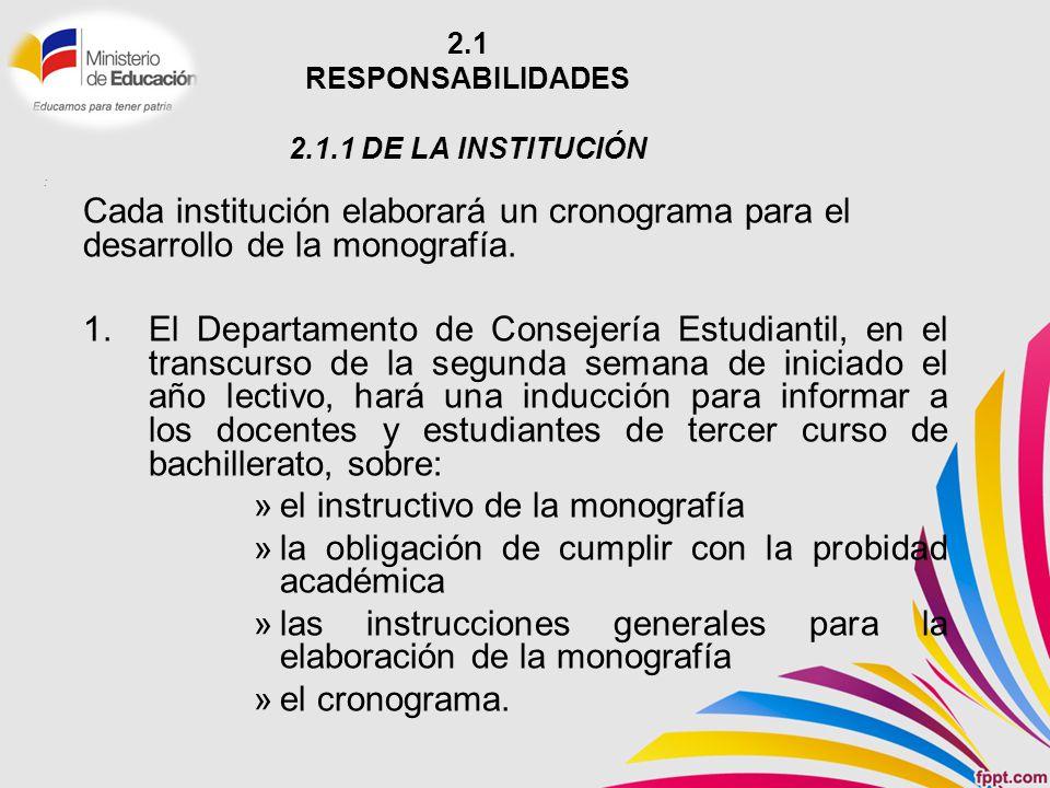 2.1 RESPONSABILIDADES 2.1.1 DE LA INSTITUCIÓN