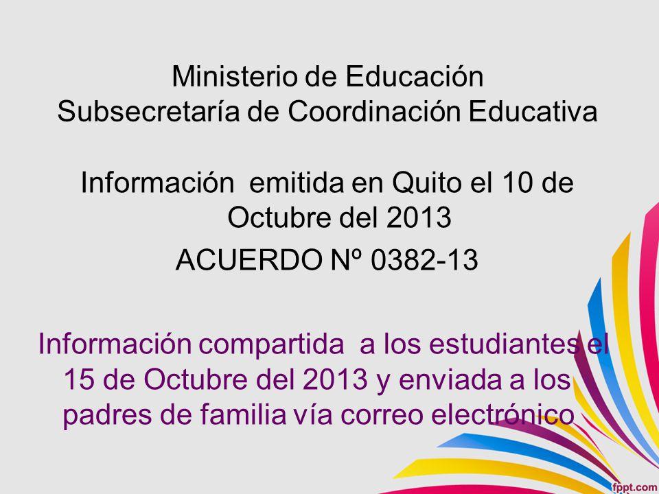 Ministerio de Educación Subsecretaría de Coordinación Educativa