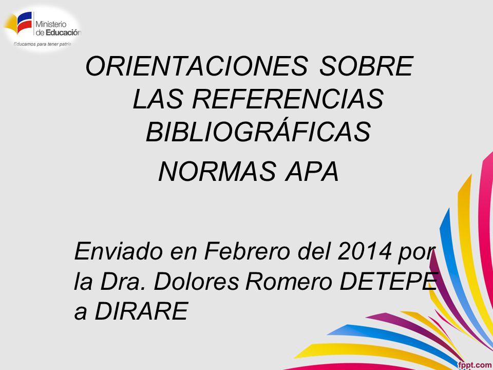 ORIENTACIONES SOBRE LAS REFERENCIAS BIBLIOGRÁFICAS