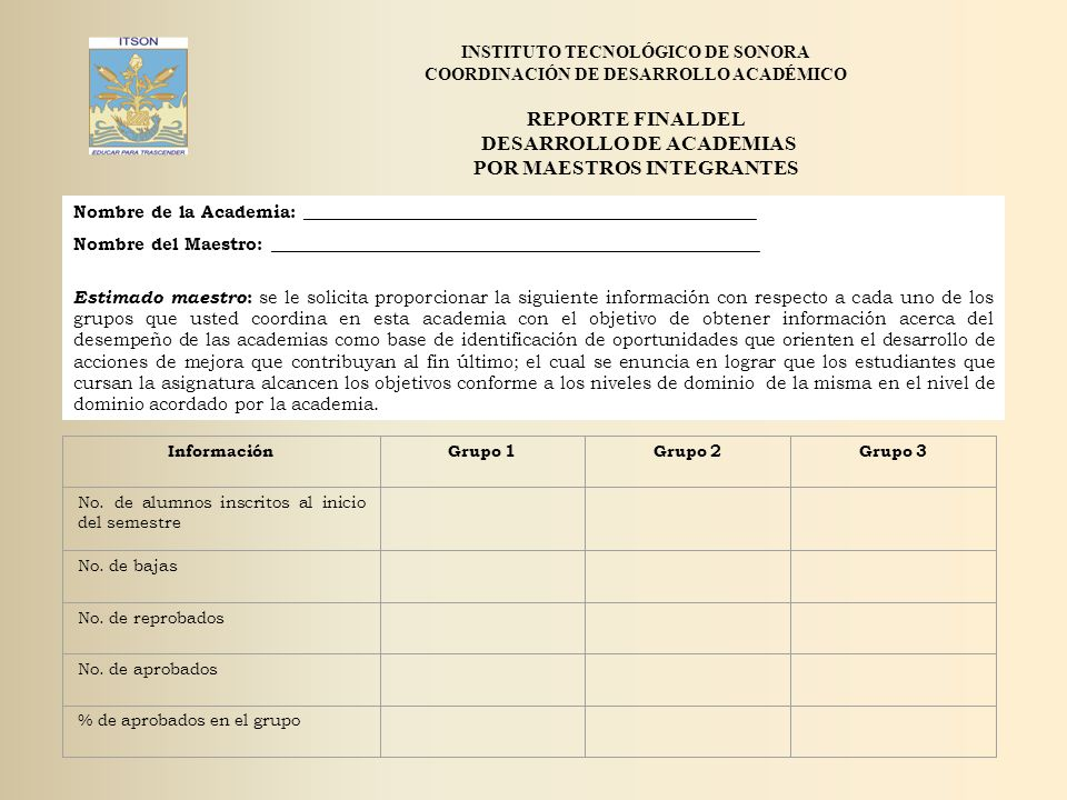 REPORTE FINAL DEL DESARROLLO DE ACADEMIAS POR MAESTROS INTEGRANTES