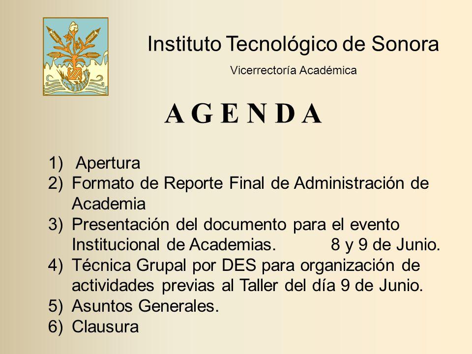 A G E N D A Instituto Tecnológico de Sonora Apertura