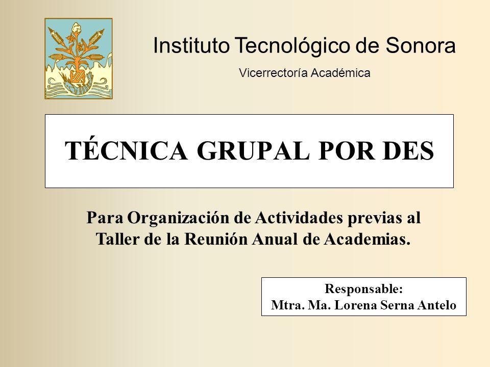 Responsable: Mtra. Ma. Lorena Serna Antelo