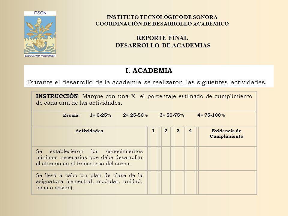 I. ACADEMIA REPORTE FINAL DESARROLLO DE ACADEMIAS