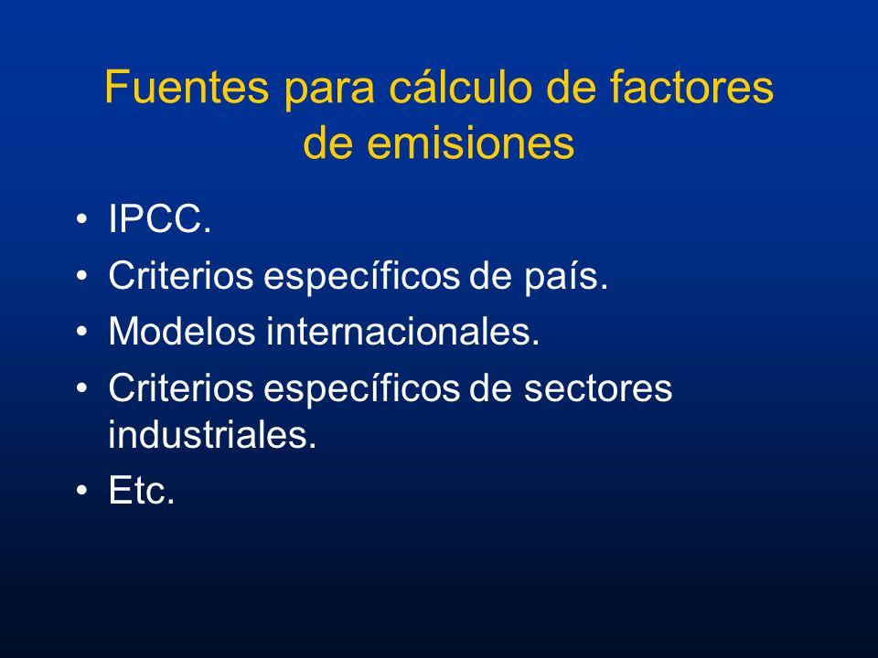 Fuentes para cálculo de factores de emisiones